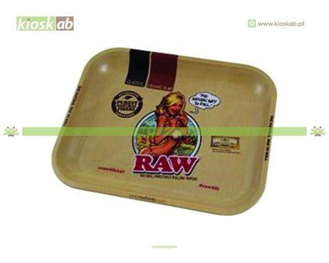 Raw Metal Rolling Tray Girl