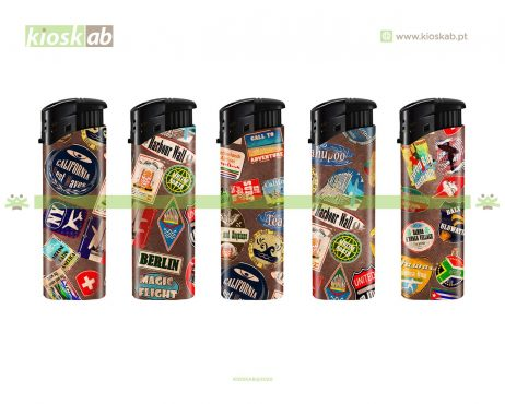 Belflam Isqueiro Slim Electrónico Antique Stickers (50)